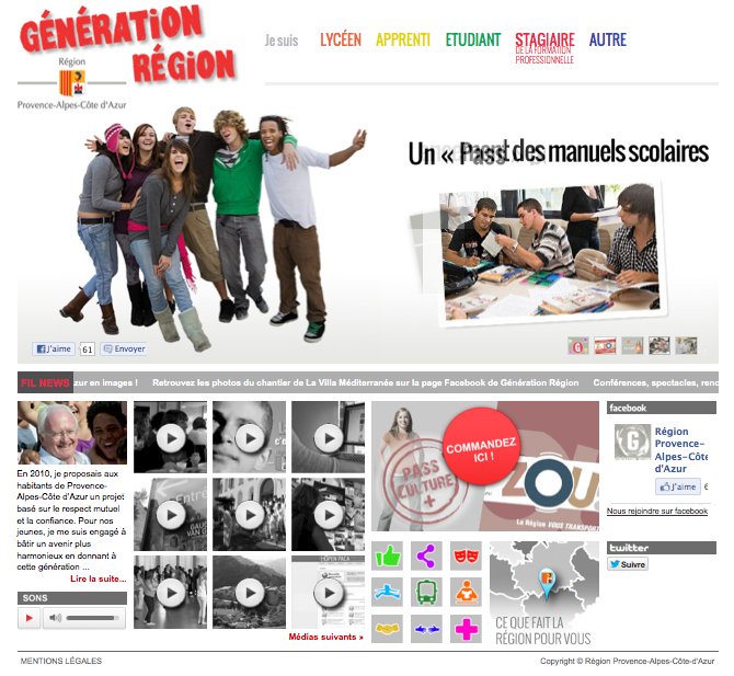 capture écran site web generation.regionpaca.fr